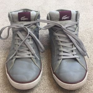 Lacoste Gray/maroon leather high top sneakers- 9.5